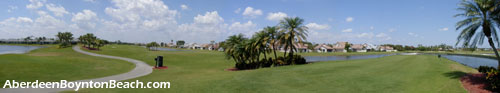 view of the golf course near the Aberdeen clubhouse in Boynton Beach, FL